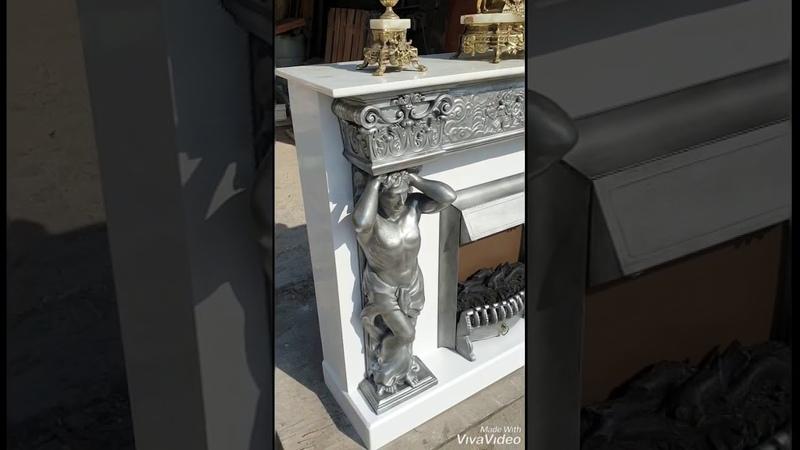 Атлант и Кариатида Белый мрамор в раскраске серебро с патиной