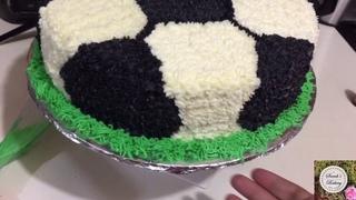 Pastel de pelota de fútbol decoración casera/Diy soccer ball cake homemade decoration