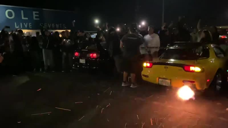 Rx7 catches on fire during 2 step battle (not click bait)