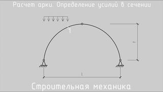 Расчет трехшарнирной арки. Определение усилий в сечении