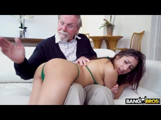Kira Perez - Kira Gets Pounded By Grandpa (Blowjob, Brunette, Hardcore, Cumshot