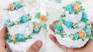 Декор тортика из бумаги/Бумажный торт коробочка своими руками/ Закулисье 32.2/Paper cake box