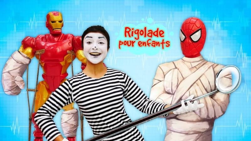 Vidéo drôle de super-héros. Spiderman et Ironman chez la mime.