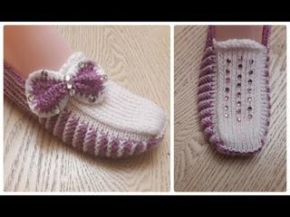 Классные тапочки следки на двух спицах №8 \   Knitting shoes