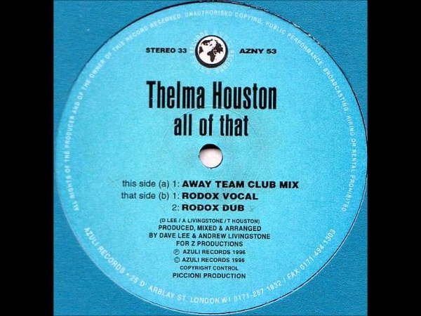 Thelma Houston All of that Rodox Vocal