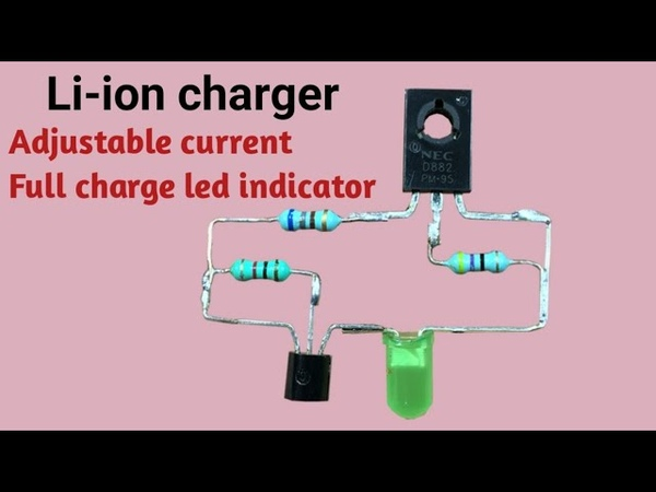 Smart 18650 li-ion charger circuit with battery full led indicator