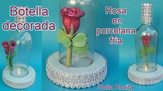 Botellas decoradas con EFECTO 3D Rosa en PORCELANA FRIA  incrustada en vidrio / Doña Rosita