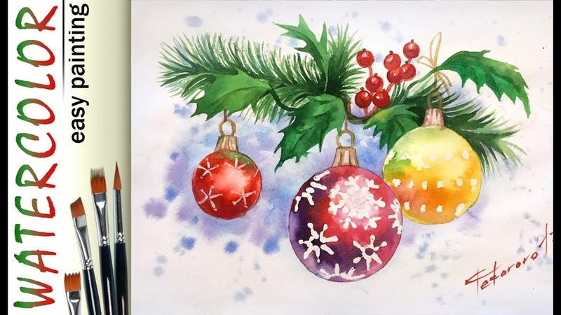 Christmas holly leaves How to paint 🎨full WATERCOLOR tutorial for beginners