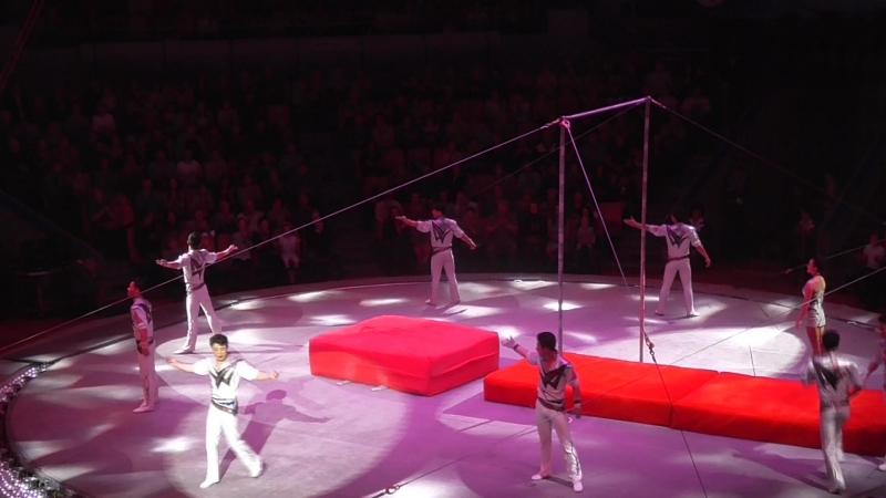 Акробаты на качелях с турником КНДР