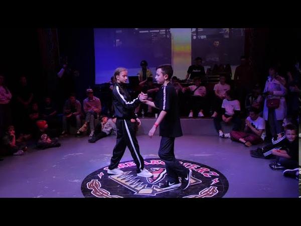 Kidz 1 4 final bboy Близнец дракон Илья vs bgirl Маша ураган