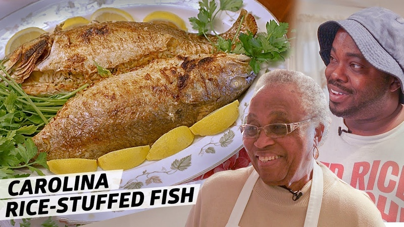 How Gullah Legend Mrs Emily Meggett Makes Spot Tail Bass Stuffed With Parsley Rice Rooted