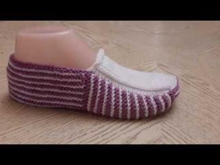 Классные тапочки следки на двух спицах № 10  / Knitting shoes / Patik modelleri