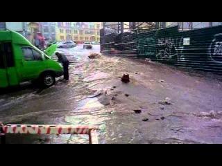 В Харькове  потоп после 15 минут дождя где-то в 14:00. Короленко и Набережная. часть 1