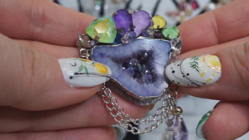Броши ручной работы Сияющие жеоды и друзы ♕ мини коллекция Растущие кристаллы ♕