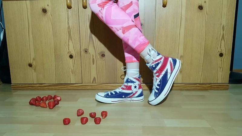 Crush strawberries with my mid Converse Allstar crush fetish CRUSHFETISH_8989