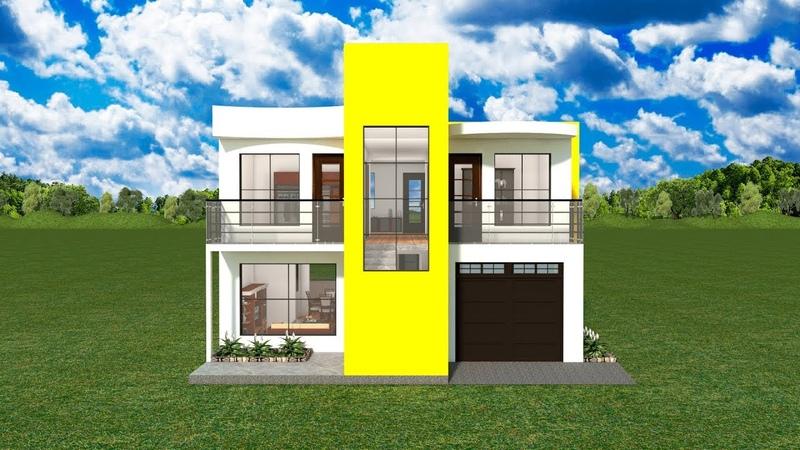 Planos Diseños casas dos pisos fachadas modernas garaje 4 cuartos terrazas lavandería 10x14M