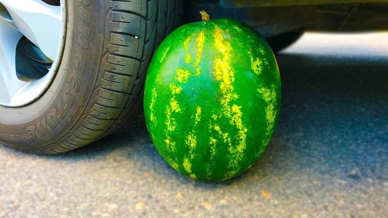 Crushing Crunchy Soft Fruits by Car EXPERIMENT WATERMELON vs CAR