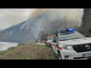 Лесной пожар на границе Испании и Франции