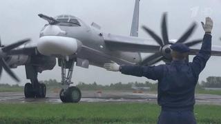 Минобороны России опубликовало видео воздушного патрулирования Ту-95МС над Японским морем.