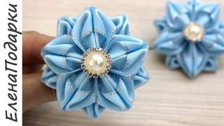 Звезда / Цветок из ленты / Flor de fita / Снежинка / DIY / Канзаши / Kansasi bow ЕленаПодарки МК
