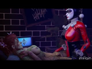 Classic Harley Quinn fucking Poison Ivy in the ass (imflain, lerico213) [Batman] 3D Porno R34