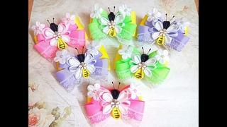 Нарядные резинки бантики пчелки из лент канзаши (часть 1)МК / hair clips ribbon kanzashi DIY