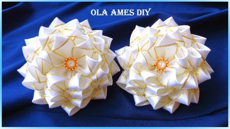 Посмотрите какие Пышные ЦВЕТЫ БАНТЫ 10 см из лент Канзаши Ribbon Flowers Flor de fita Ola ameS