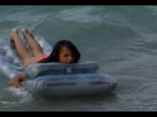 Sandra teen model floats topless