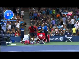 Angry Novak Djokovic breaks racquet after losing 2nd set against bautista agut us open 2015 (HD)