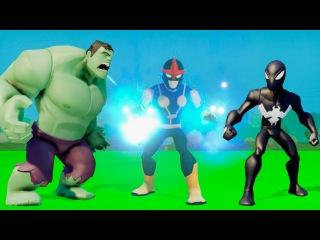 Супергерои вместе!! Человек Паук ЧЁРНЫЙ, Зелёный ХАЛК, и летающий Нова,а так же машинки ТАЧКИ Дисней