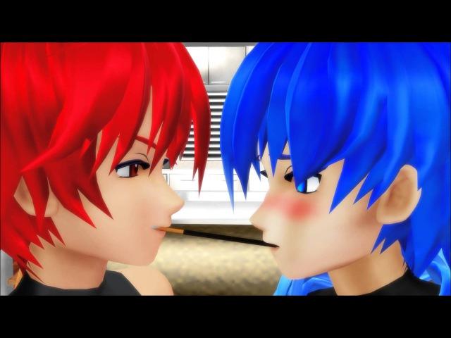 MMD Akaito x Kaito Pocky Game Slight Yaoi Warning