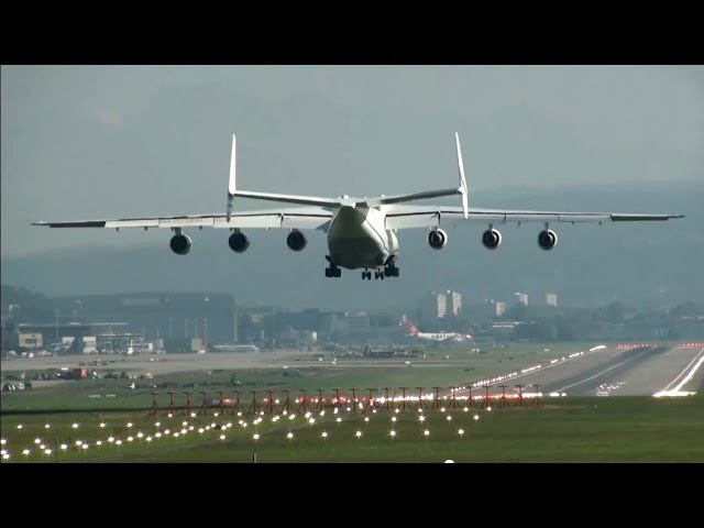 ✈ Antonov-225 Mriya AMAZING BIGGEST Plane on Earth landing at Zurich Zürich Kloten Airport - ZRH