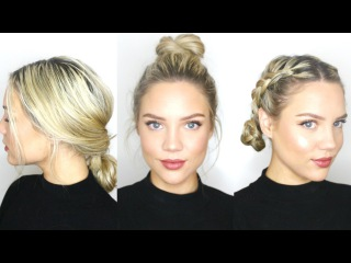 3 ВАРИАНТА ПРИЧЕСКИ НА КАЖДЫЙ ДЕНЬ 3rd Day Hairstyles || Heatless + Product free!