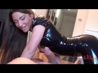 Julie skyhigh dominates man while wearing latex. domination, fetish, oral