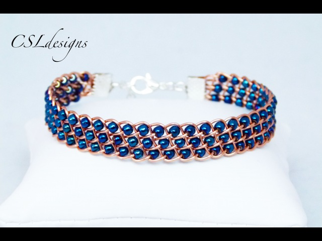 Fully beaded flat wirework kumihimo bracelet