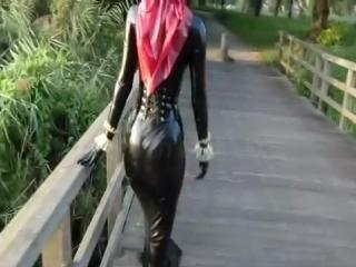 Marilyn yusuf wearing red catsuit in public