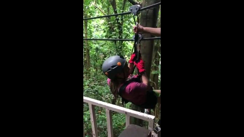Kalani Hilliker Ziplining in Puerto Rico