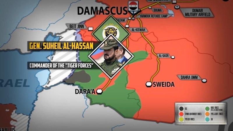 22 мая 2018 Военная обстановка в Сирии Сирийский генерал Сухейль аль Хассан прибыл на юг Сирии
