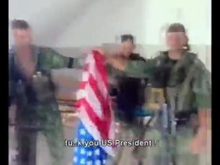 Русские солдаты ВДВ сожгли флаг Америки. ))) улыбнуло. Грузия 2008 год. (очень похожи на американцев самих в Ираке. как не русские прям в Грузии, а граждане России-мини-США =)