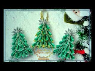 Елочка канзаши. Магнит-игрушка. МК.--- Christmas tree of Kanzash. Magnet-toy. MK.
