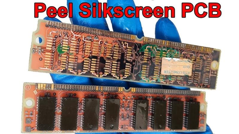 Potassium Hydroxide Peel Silkscreen RAM Sticks PCB Gold plated in the electronic circuit board