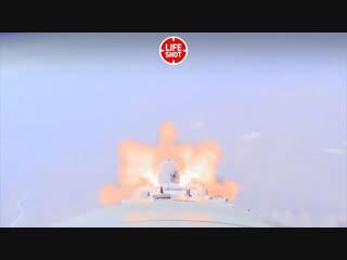 Момент аварии ракеты-носителя с пилотируемым кораблем Союз МС-10