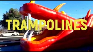 ASHLEY PLAYING ON INFLATABLE TRAMPOLINE IN WESTLAKE VILLAGE, CA, TRAMPOLINE RED DRAGON