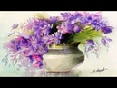 Watercolor Painting Vase With Flowers By Yasser Fayad