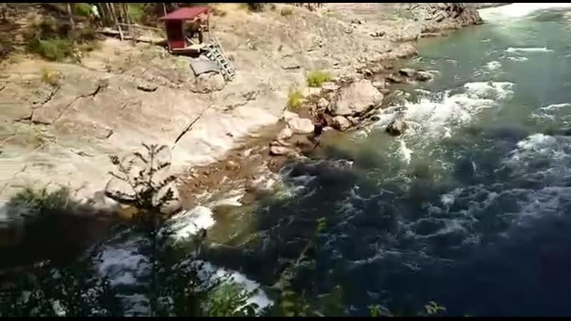 Горный Алтай 2019 Чемальская ГЭС Первый прыжок с тарзанки