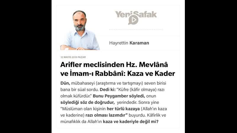 Hayrettin Karaman Arifler meclisinden Hz Mevlânâ ve İmam ı Rabbânî Kaza ve Kader 12 05 2019