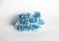 000019 Кудрявые розы 3 см голубой  1 шт - 12 руб  диаметр 3 см высота 2 см длина стебля 8 см