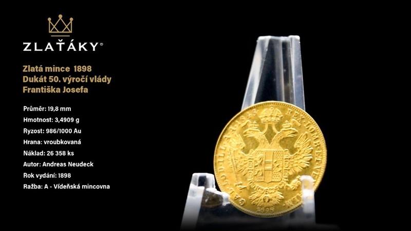 Zlatá mince Dukát 50 výročí vlády Františka Josefa I Rakouská ražba 1898 A Linkskopf