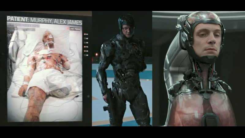Sex killed in an explosion brought back to life as a cyborg fight shot scene of Alex RoboCop