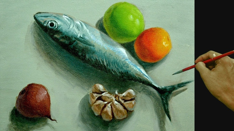 How to Paint Realistic Still Life with Fish, Garlic, Onion and Tomatoes in Acrylic